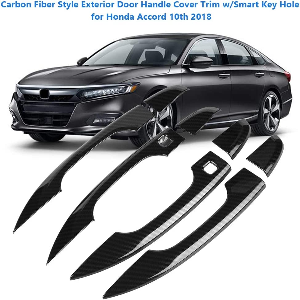 Carbon Fiber Look Door Handle Cover Trim Smart 8pcs For Honda Accord 2018-2019