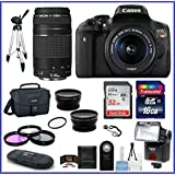 Canon EOS Rebel T6i DSLR Camera with 18-55mm & EF 75-300mm f/4-5.6 III Lenses+ Telephoto & Wide Angle Lenses + more ...