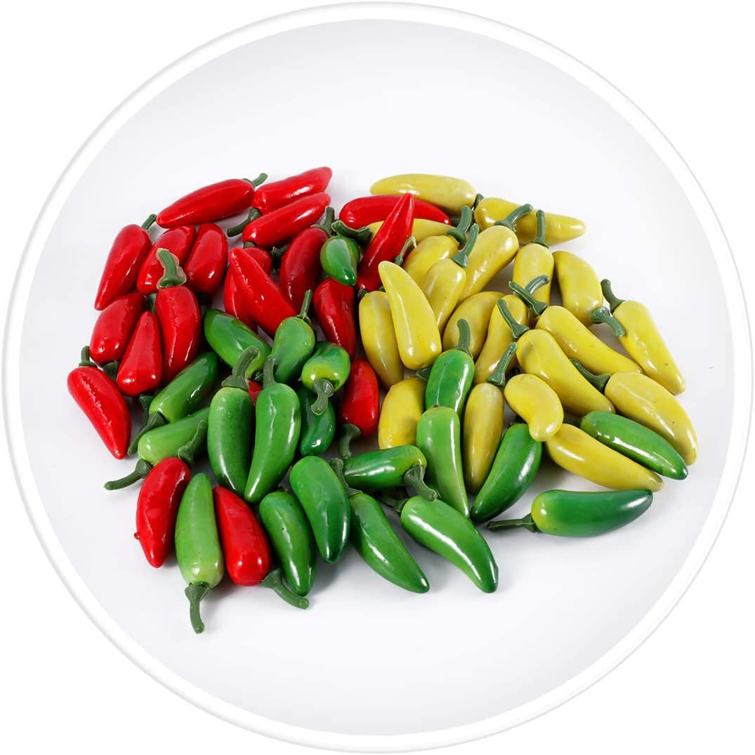 Each Color 20pcs Yellow Red Green Liruis 60pcs Artificial Lifelike Simulation Small Pepper Chili Paprika Fake Vegetable Chilies