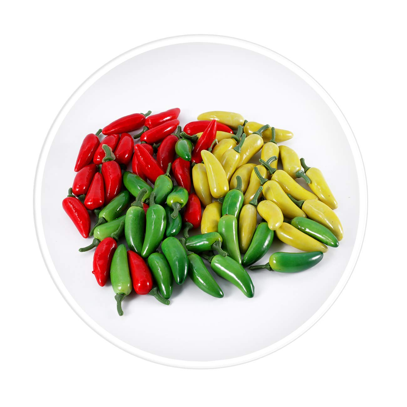 VALUEDEBUT 60pcs Artificial Lifelike Simulation Small Pepper Chili Paprika Fake Vegetable (Yellow Red Green) Photo Props Home Decor Each Color 20pcs