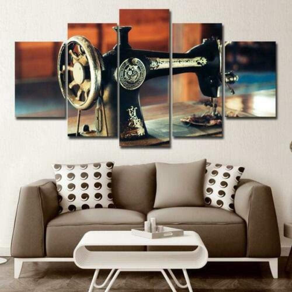 6Lv5Panel Impresiones sobre Lienzo Máquina De Coser Antigua 5 Paneles Lienzo Arte De La Pared Decoración para El Hogar Cartel Imprimir-150 * 80Cm-Sin Marco: Amazon.es: Hogar