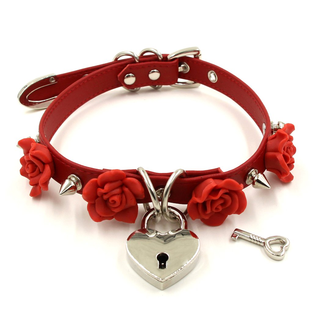 Handmade Clay Flowers Spikes Heart Lock Faux Leather Choker Collar (Red with Silver Alloy)