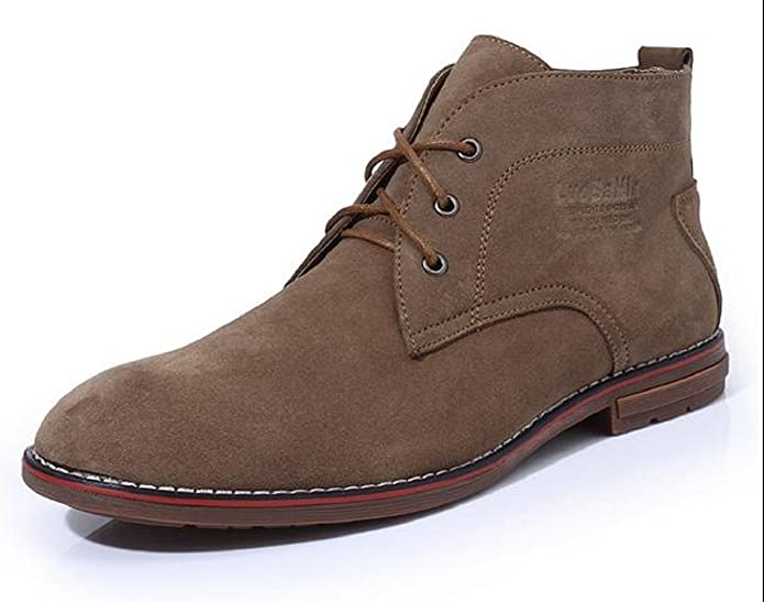 M 41 EU, Sand Color HAPPYSHOP TM Men Swede Leather Lace up Ankle Boots Chukkas Boots Army Boots High for Boots