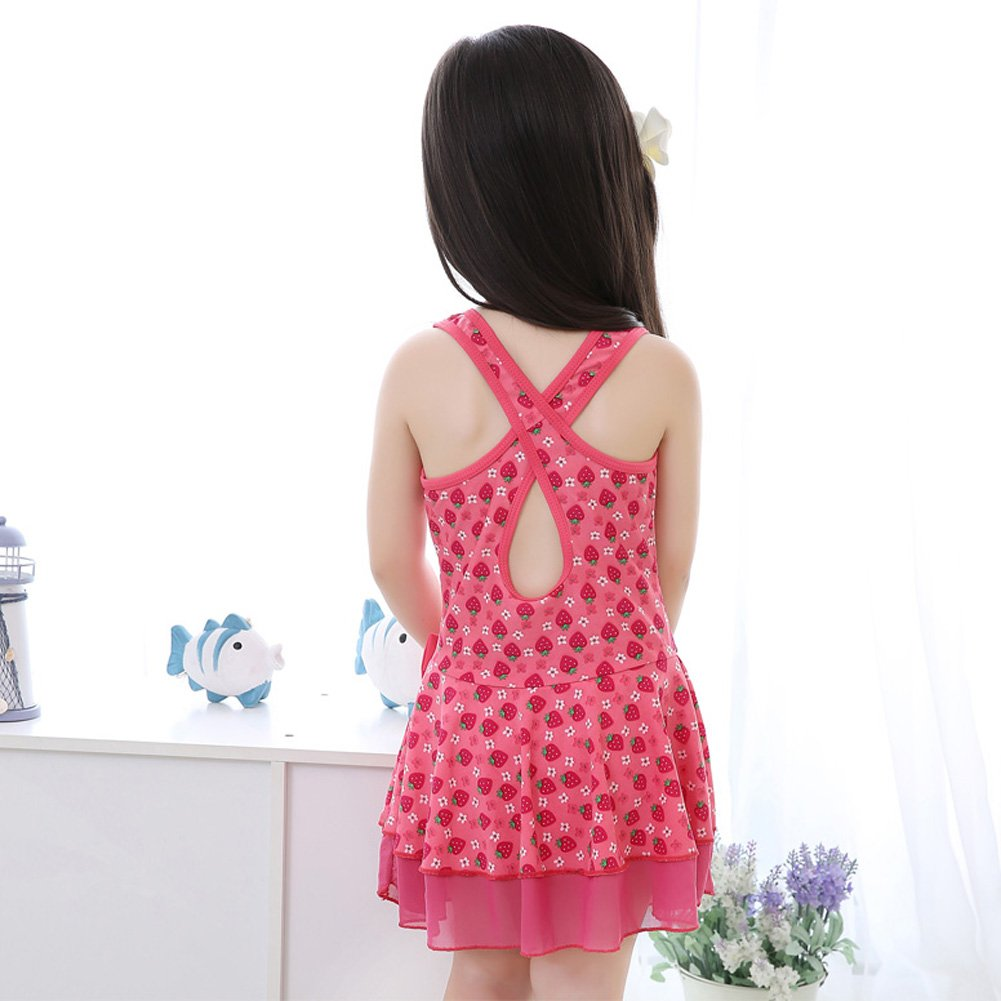 Girls Skirt Swimwear Red Strawberry Design One-piece Swimsuit