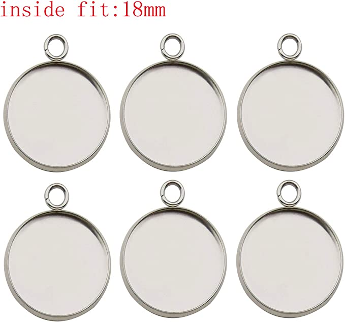Payong 100 PCS Bezel Pendant Trays Round Cabochon Settings Blanks 25mm Silver