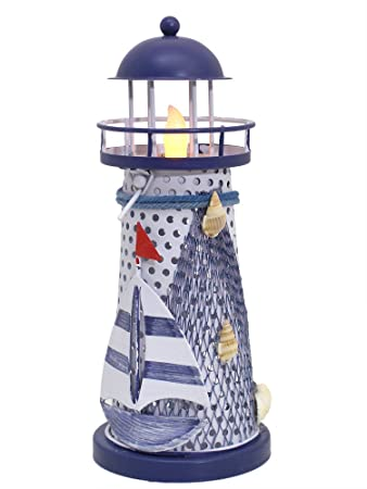 Nautical Gifts   Nautical Lighthouse Decor   Blue And White Lighthouse With  A LED Flameless Tealight