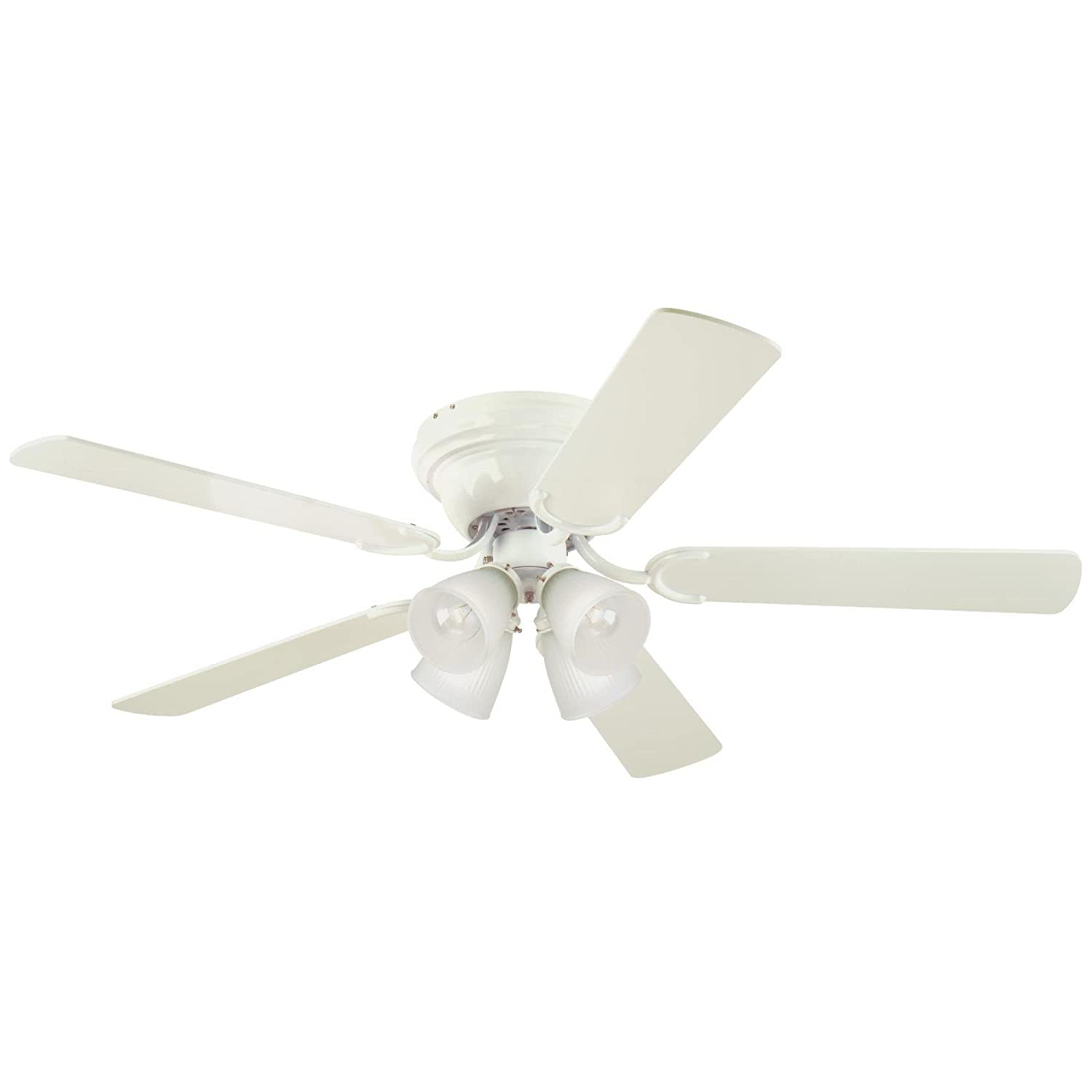 Westinghouse Lighting 7216400 Contempra IV Four-Light 52-Inch Reversible Five-Blade Indoor Ceiling Fan, White with Frosted Ribbed-Glass Shades, Includes Bulbs