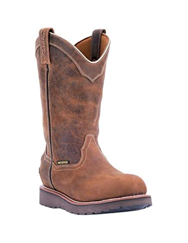 Dan Post Mens Saddle Work Boots Leather Cowboy Boots Round Toe