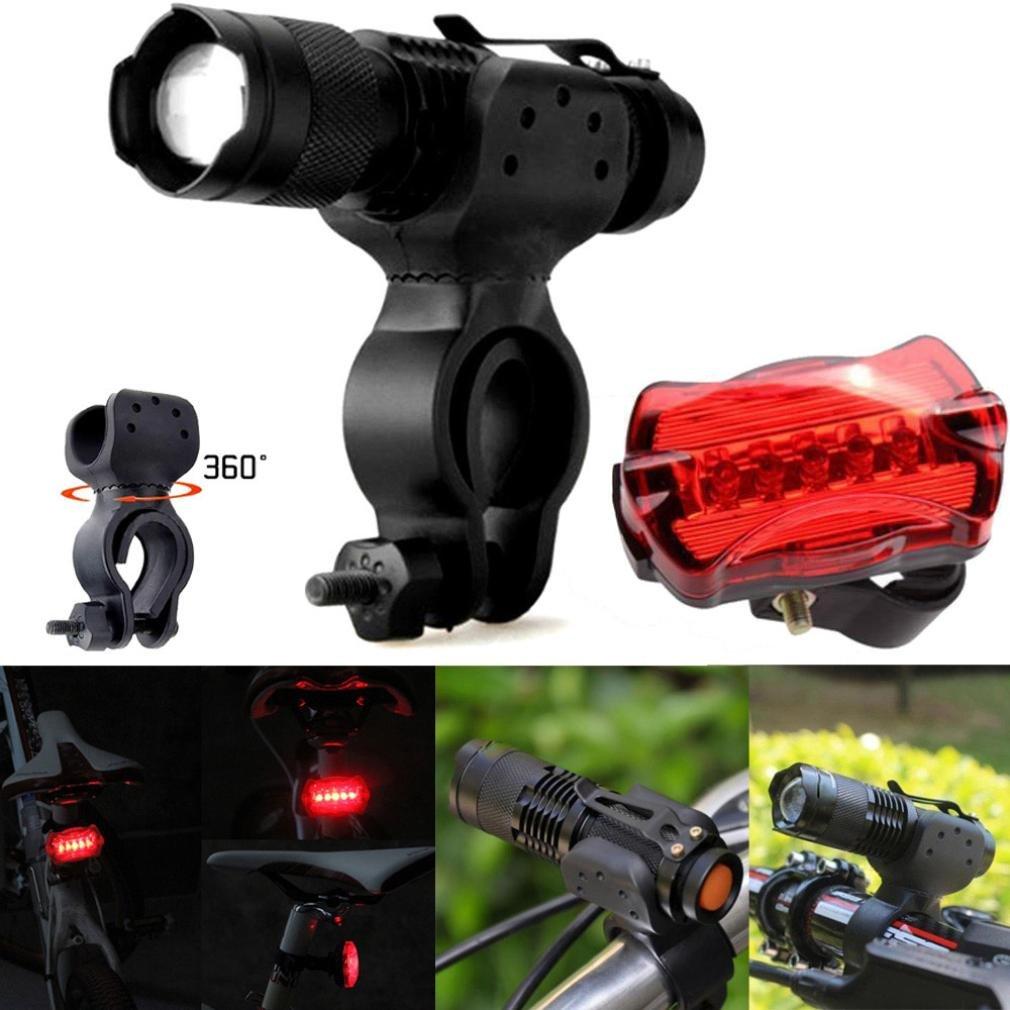 HCFKJ Q5 LED ciclismo bicicleta cabeza luz linterna antorcha 360 ° montaje clip + luz trasera 5LED
