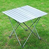 LeeMas Inc 27'' L x 26-1/2 W Aluminum Roll-up Top Camp Folding Table Lightweight with Carrying Bag for Picnic BBQ Beach Hiking Travel Fishing Camping