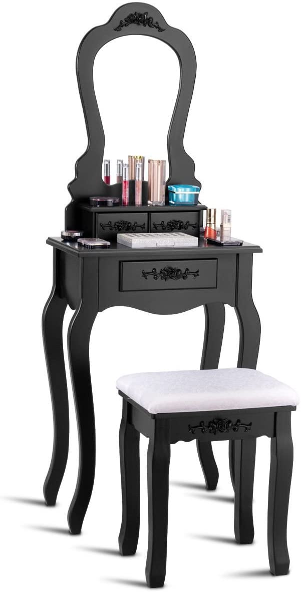 Casart Bathroom Vanity Wood Makeup Dressing Table Stool Set