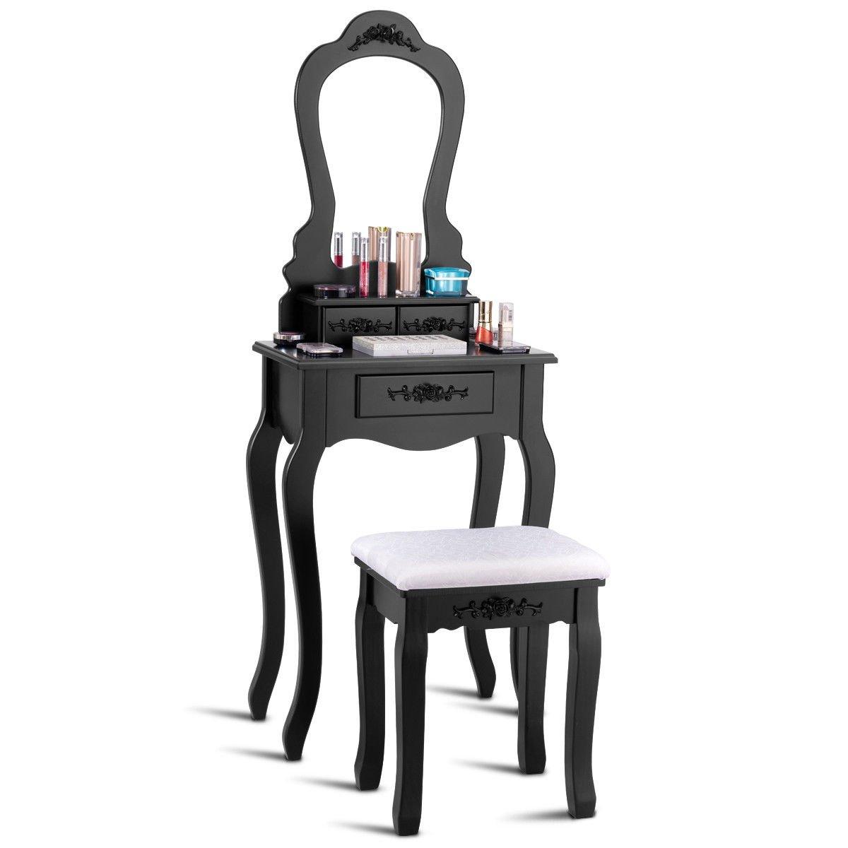 Giantex Vanity Wood Makeup Dressing Table Stool Set Bedroom with Mirror (Sector Mirror, 3 Drawers Black)