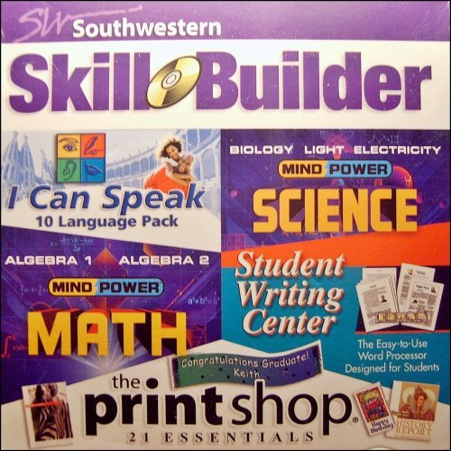 1 X Southwestern Skill Builder Software Pack: High School Math, High School Science, I Can Speak 10 Language Pack, Student Writing Center, The Printshop Essentials by