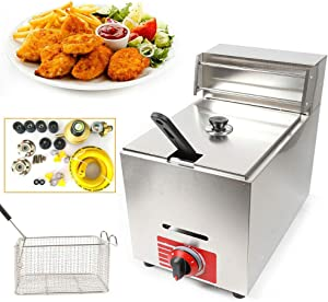 10L Stainless Steel Deep Fryer, Upthehill Commercial Countertop Restaurant Fryer Gas Fryer Deep Fryer Machine Large Capacity Single Tank Deep Fryer with Lid, Tank and Basket Included