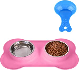 Hubulk Pet Dog Bowls 2 Stainless Steel Dog Bowl with No Spill Non-Skid Silicone Mat + Pet Food Scoop Water and Food Feeder Bowls for Feeding Small Medium Large Dogs Cats Puppies