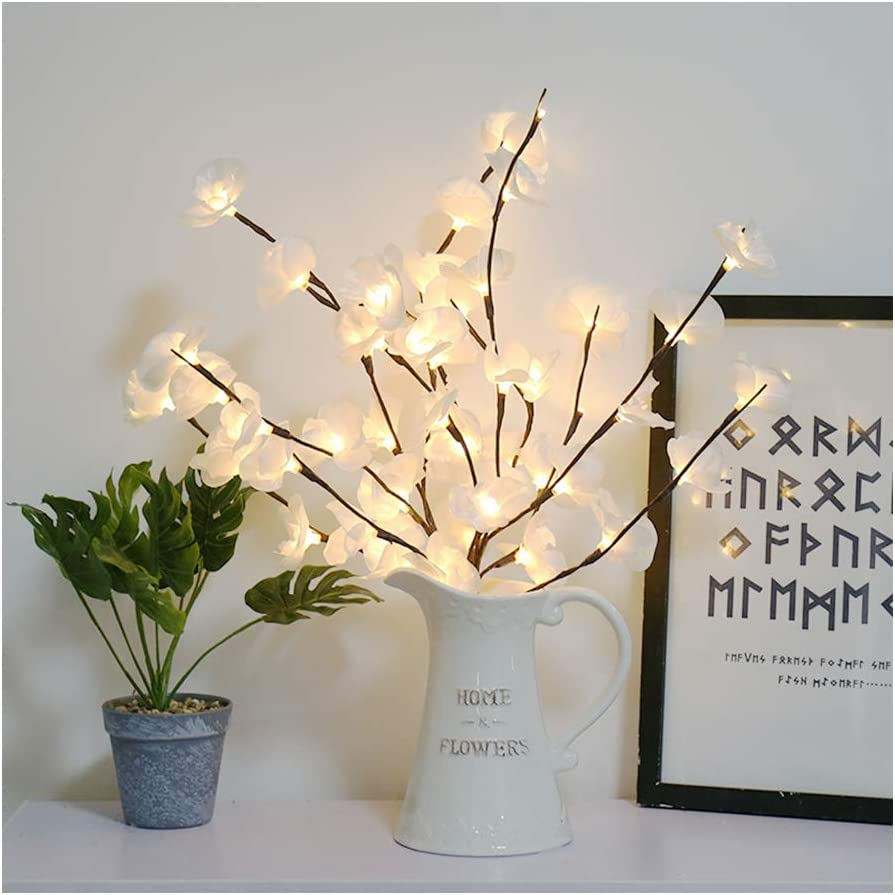 Amazon Com Micozy 30in Lighted Flowers White Phalaenopsis Tree Branch Light Floral Lights Home Christmas Party Garden Decor For Home Wedding Decoration Not Included Battery Home Kitchen