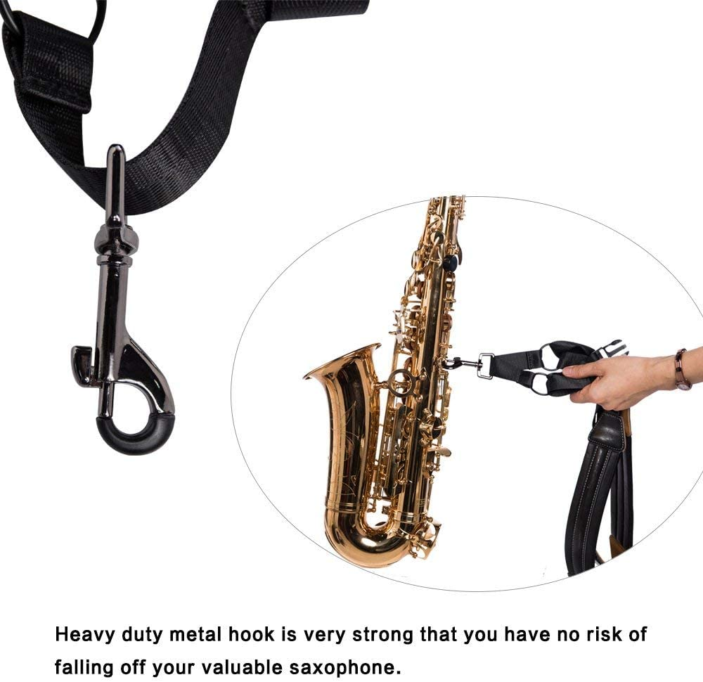Rayzm Saxophone Strap, Universal Double Shoulder Leather Strap for ...