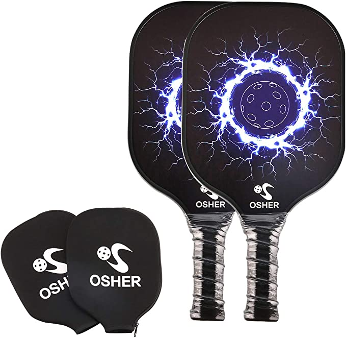OSHER Pickleball Paddle Graphite Pickleball Racket with Cover Honeycomb Composite Core Pickleball Paddle Set Ultra Cushion Grip Low Profile Edge ...