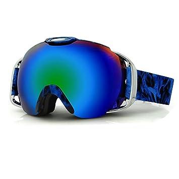 Lentilles sphériques professionnels Snowboard Lunettes de ski anti-buée Bleu Pur hmp2I9