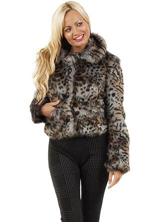 e4959b603488 Urbancode Leopard Shadow Faux Fur Short Cropped Jacket UK 14 Grey:  Amazon.co.uk: Clothing