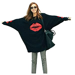 Women's Fashion Casual Loose O Neck Long Sleeve Batwing Blouse Tops Tee Shirt (XXL, 03 black)