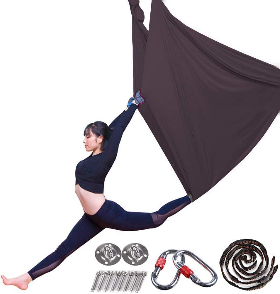 Daisy Chain Aerial Yoga H/ängematte Pilates Trapez Silk Elastische Yogatuch Haengematte Seiden Yoga Schaukel Set H/ängetuch Equipment inkl Pose Guide L: 5M B: 2,8M Karabiner
