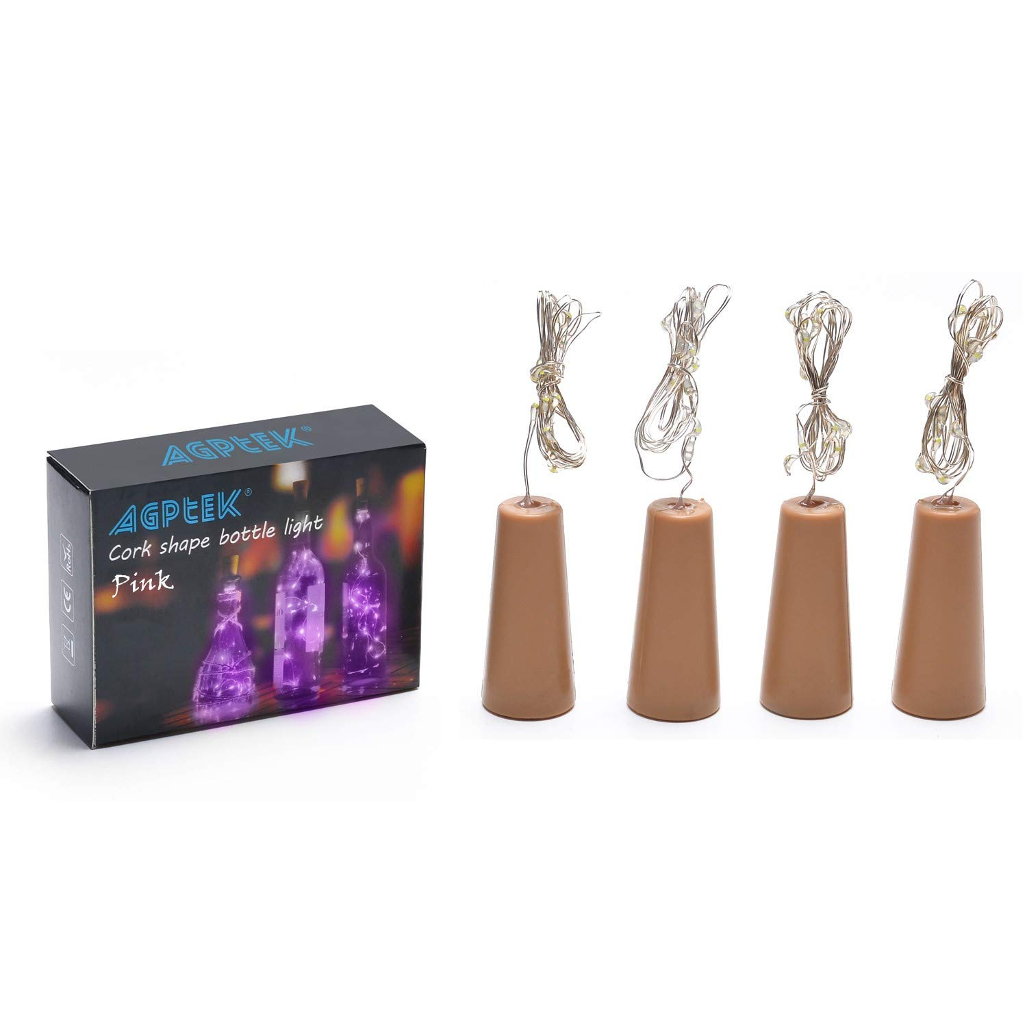 Blue AA battery Cork shape lights,Bottle Mini String Lighting 4PCS set 75cm//30inch Copper Wire light Starry Light For Wedding and Party decoration warm white color