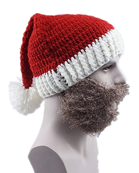 cb9ec44a8c4 Sorrica Chunky Knit Beanie Hat Unisex Bearded Face Mask Beanie Hat Costume  Party Cap Christmas Holiday Party Hat (Brown Santa) at Amazon Men s  Clothing ...