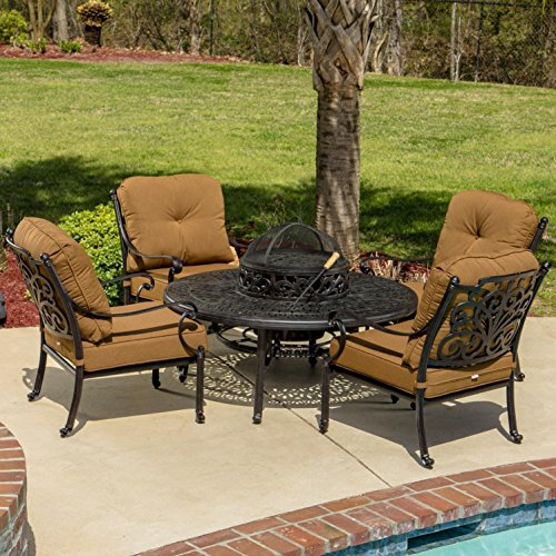 Lakeview Outdoor Designs Evangeline 4 Person Patio Deep Seating with BBQ/Fire Pit Table and Ice Bucket Insert, Antique Bronze (Deep Seating Fire Pit Table)