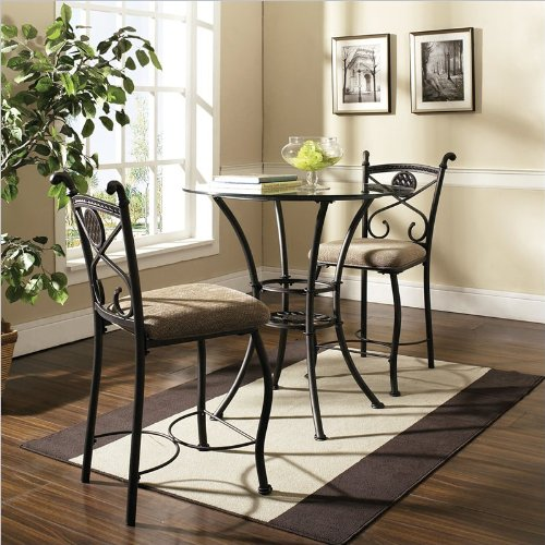 Steve Silver Company Brookfield Round Counter Dining Table in Dark Metal with Glass (Round Glass Top Dinette)