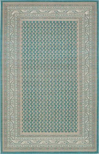 Unique Loom Williamsburg Collection Traditional Border Teal Area Rug (5' 0 x 8' 0) (Rug 5x8 Teal)