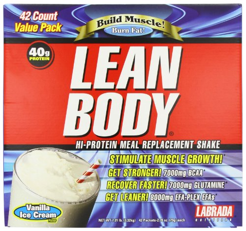 Labrada nutrición corporal magra comida reemplazo agitar, helado de vainilla, 2,78 onzas paquetes (paquete de 42)