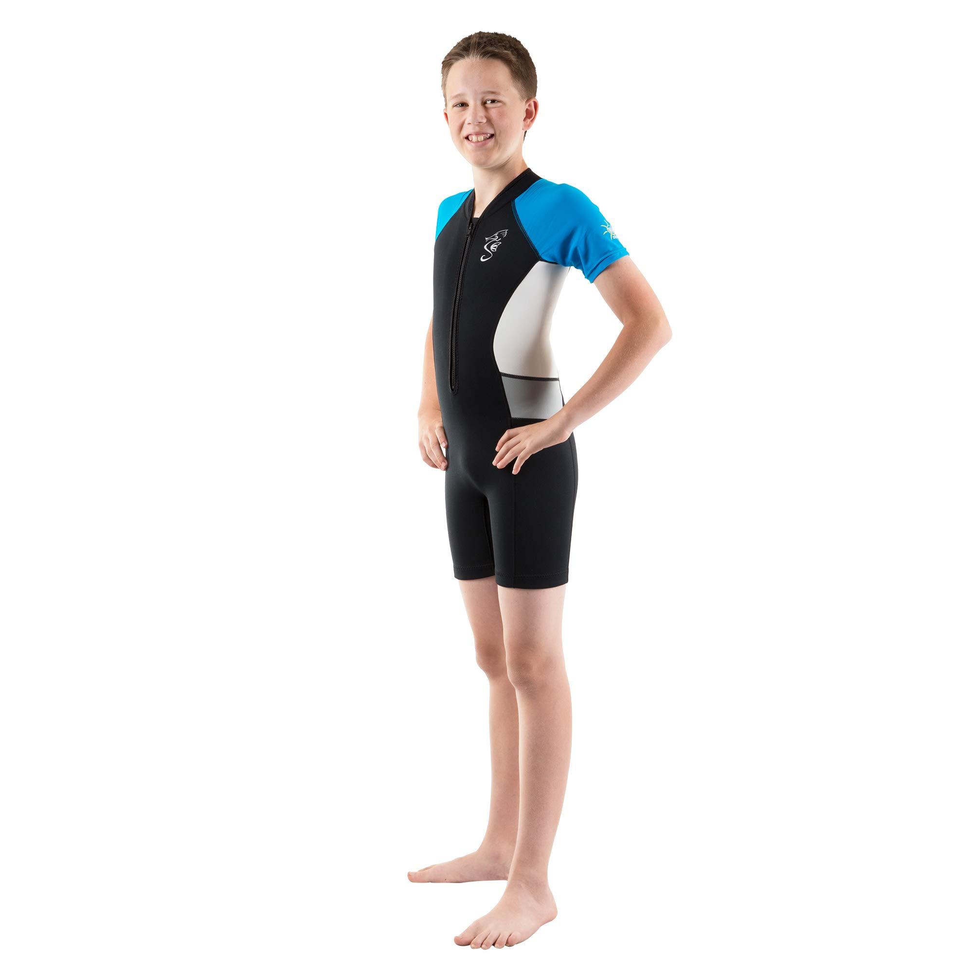 Seavenger Cadet 2mm Kids Shorty | Child Neoprene Wetsuit for Snorkeling, Surfing and Swimming (Blue, 6/6X) by Seavenger