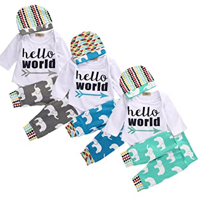 0c101df72b50 3Pcs Infant Newborn Baby Boys Girls HELLO WORLD Romper Tops+Pants Clothes  Outfit Sets (