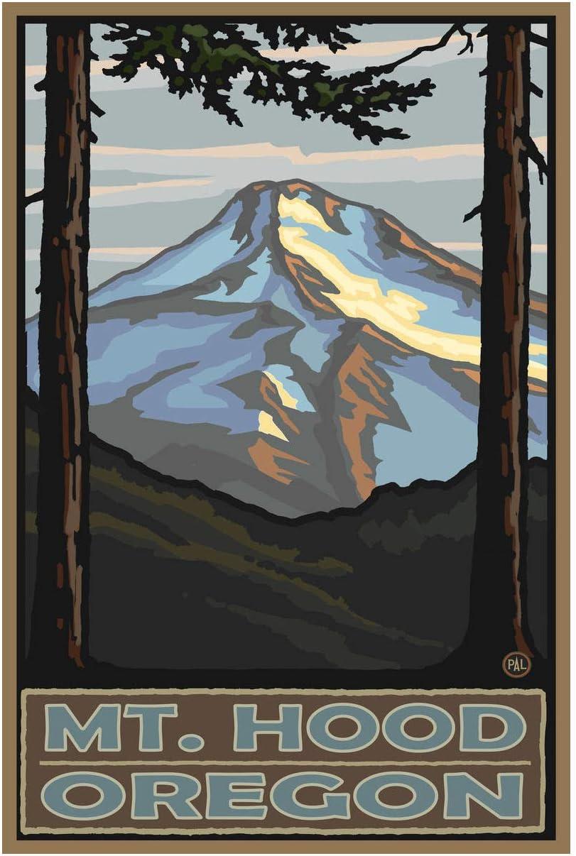 """Mount Hood Oregon Giclee Art Print Poster from Original Travel Artwork by Artist Paul A. Lanquist 12"""" x 18"""""""