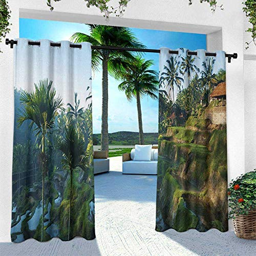 - Hengshu Balinese, Outdoor Privacy Porch Curtains,Terrace Rice Fields Palm Trees Traditional Farmhouse Morning Sunrise Bali Indonesia, W96 x L96 Inch, Green