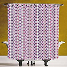 Funky Shower Curtain 3.0 by SCOCICI [ Abstract,Nostalgic Polka Dots Little Circle and Rings with Color Effects Design Decorative,Grey Purple Light Pink ] Waterproof Polyester Fabric Decorative Bath Cu