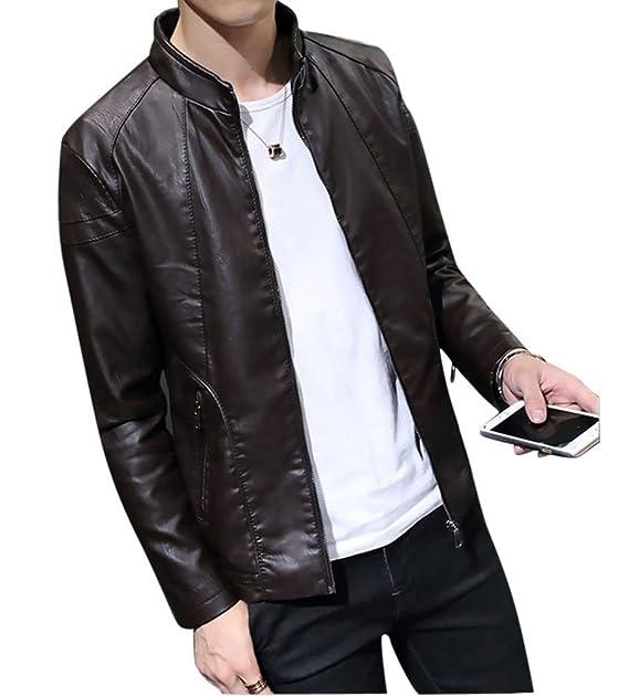 LaoZan Hombre Cazadora Abrigos otoño Invierno De Cuero De Imitación PU Biker Chaqueta Jacket Outerwear: Amazon.es: Ropa y accesorios