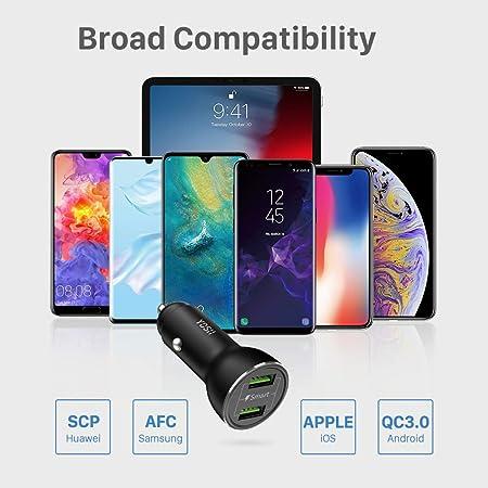 para iPhone XS MAX XR 8 7 6 Plus Samsung Galaxy S9 S8 Plus Huawei P20 P10 Xiaomi Aquaris HTC Switch etc. YOSH Cargador de Coche QC3.0 Doble USB Puerto,36w Cargador Coche con Carga R/ápida