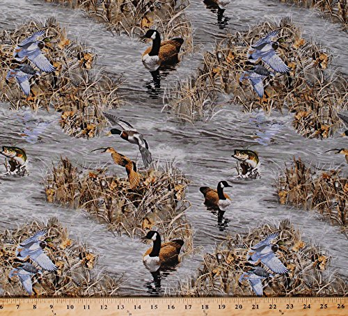 (Realtree Ducks and Fish Camo Cotton Fabric - Sold By the Yard)