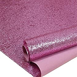 Pink Chunky Glitter Wallpaper, 3D Sparkly Glitter Fabric Wall Paper,Bling Wallcovering (Pink)