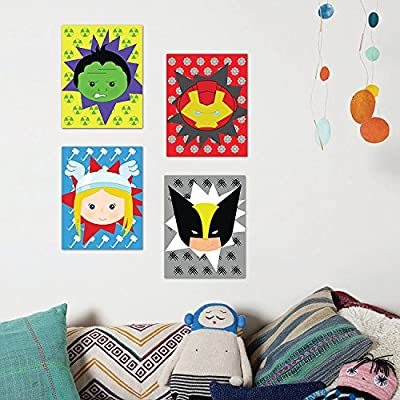 Children Inspire Design Superheros Decor, Baby Boy Nursery Decor, Iron Man, Hulk, Thor, Wolverine, Superhero Wall Art, Set of Four 05x07 Inch Print: Posters & Prints