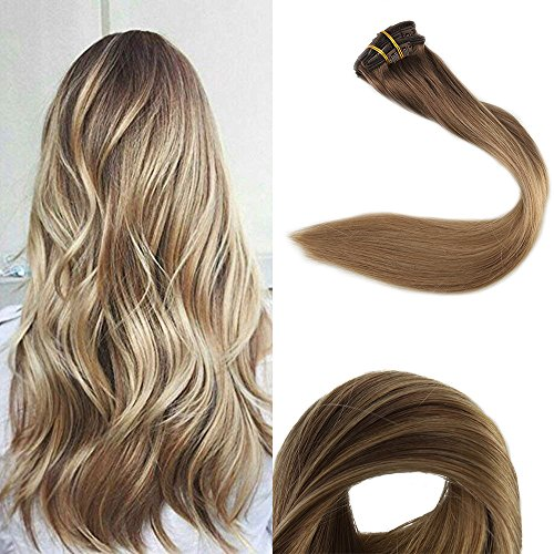 Full Shine 14 inch 10Pcs 100gram Balayage Remy Human Hair Clip in Extensions Ombre Dip Dye Color #10 Fading to #14 With Color #14 Blonde Highlighted Double Weft Clip In Extensions