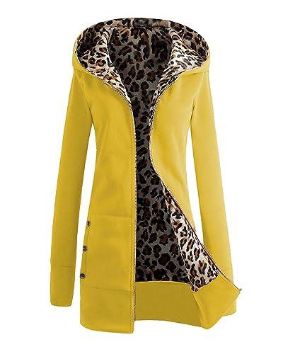 SaiDeng Mujer Cuello Con Capucha Color Puro Leopardo Slim Fit Abrigo Amarillo L