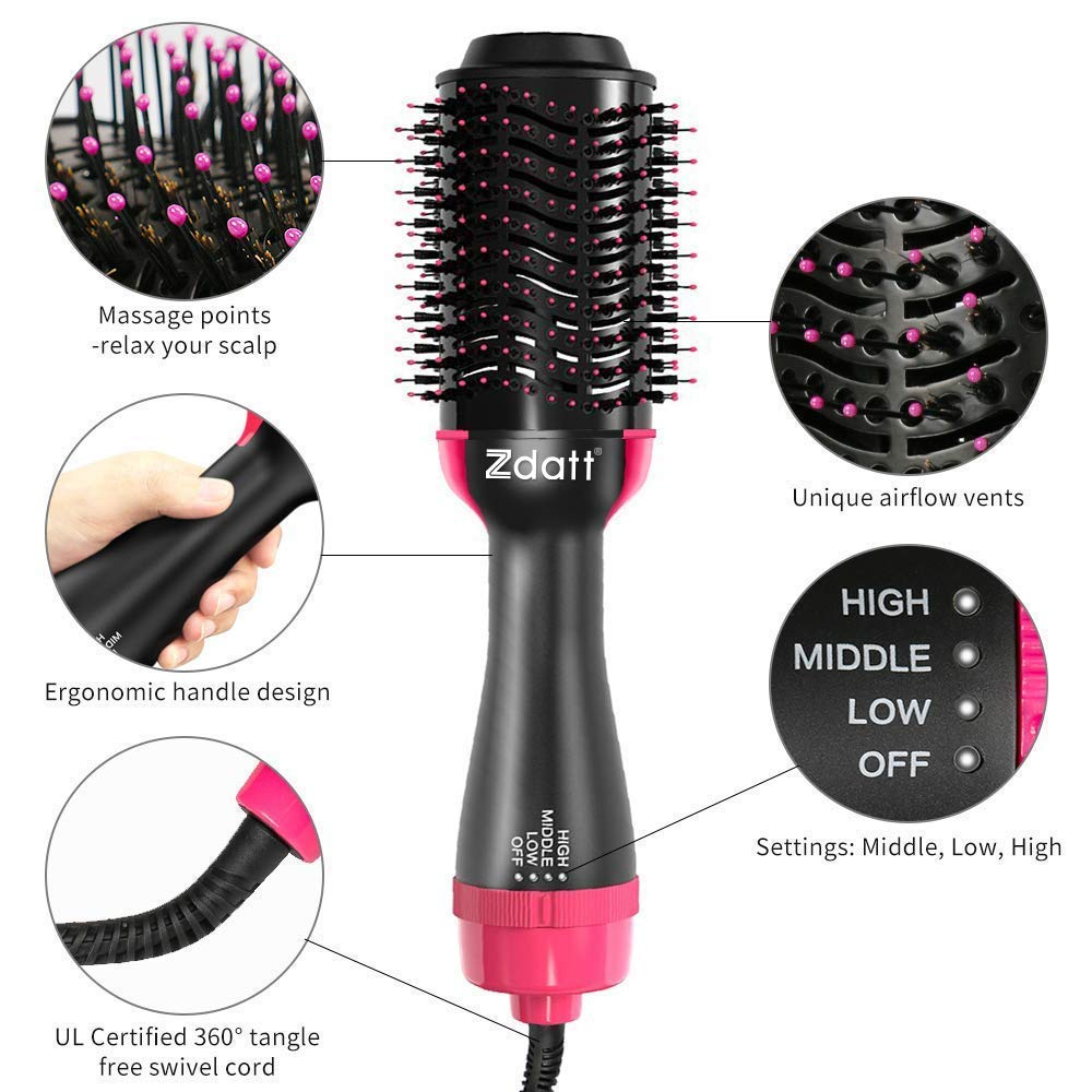 ZDATT Hot Air Hair Brush & Volumizer, 3-in-1 Salon Styling Hair Dryer and Styler, Negative Ion Straightening Brush Curl Brush, Multi-functional for Straight & Curly Hair. UL Swivel Wire b by ZDATT (Image #8)