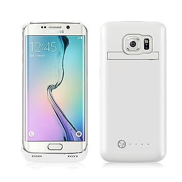 Funda Batería Galaxy S6 Edge , SAVFY® Case carcasa Con Batería Cargador-batería Externa Recargable 4200mAh Para Samsung Galaxy S6 Edge (Blanco)