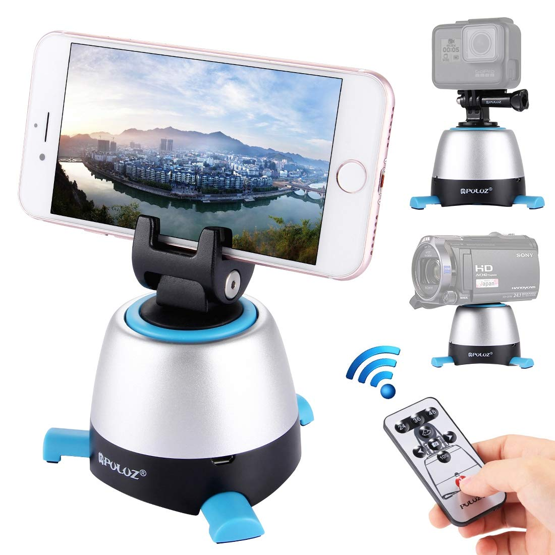 WSJ PULUZ Electronic 360 Degree Rotation Panoramic Head with Remote Controller for Smartphones, GoPro, DSLR Cameras(Yellow),Blue