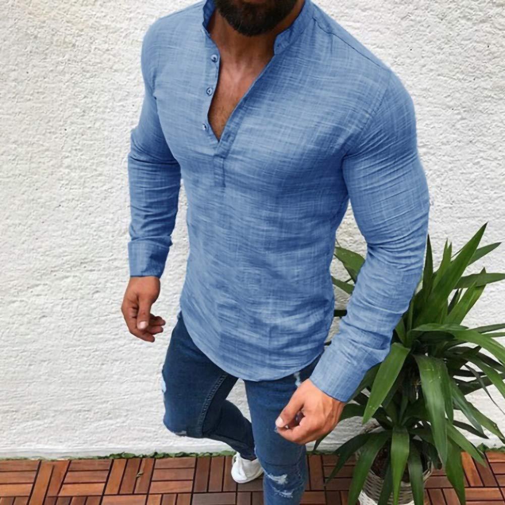 Mens Long Sleeve Linen Shirts Henleys Button Shirt Standing Collar Round Neck Shirt Top Blue