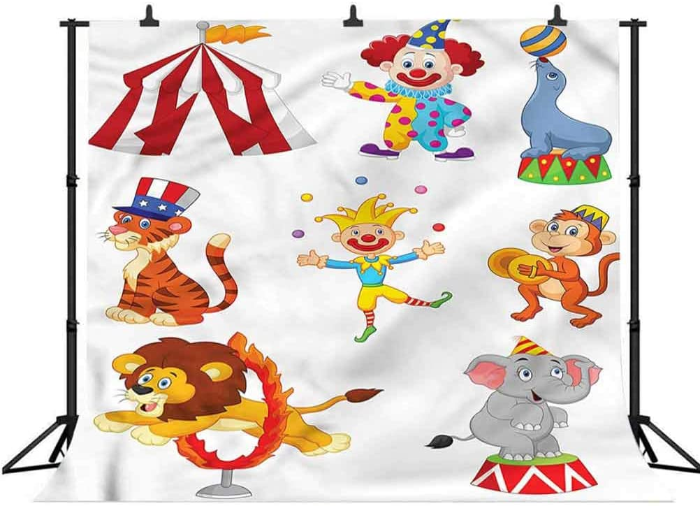 5x5FT Vinyl Photography Backdrop,Circus,Circus Wild Animals Background for Graduation Prom Dance Decor Photo Booth Studio Prop Banner