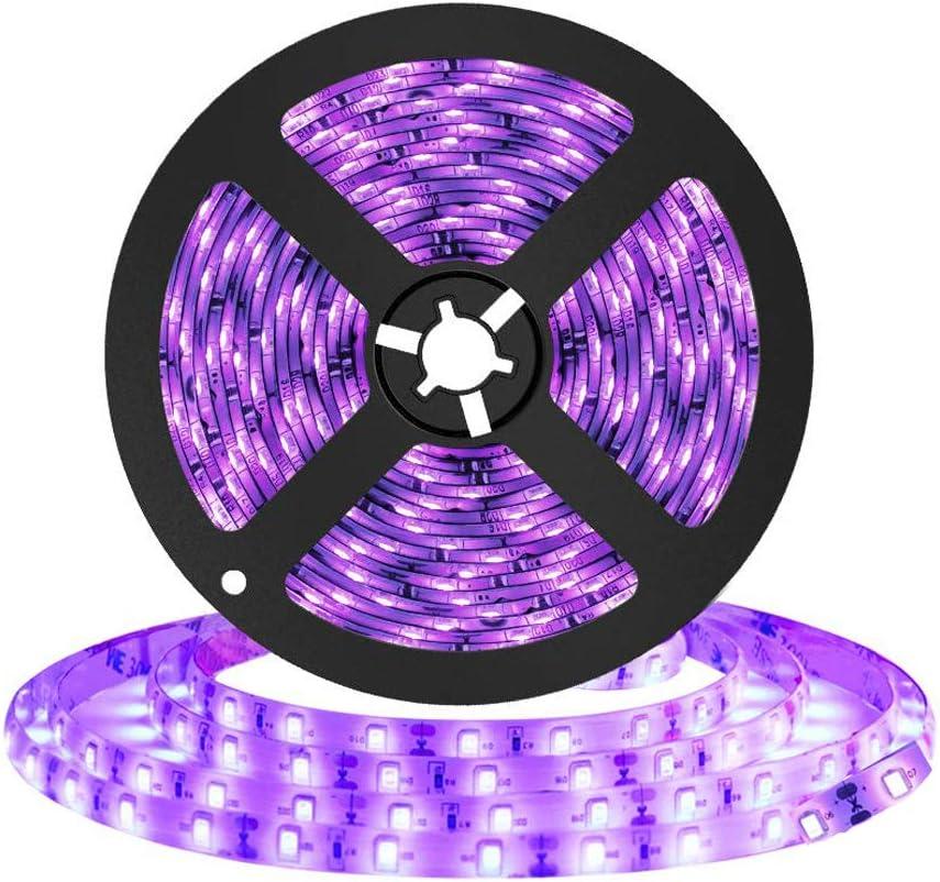 Tira de luz LED negra UV, Lemonbest 16.4ft 5m 12V Tira de luz negra flexible para la cocina casera TV con luz de fondo